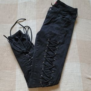 Black Lace Up Skinny Jeans